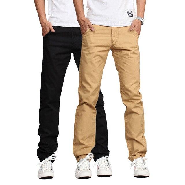 2017 весенняя мода случайные штаны мужчины, твердых вне брюки, середине талии Прямые брюки хлопка mens khaki бегунов размер 28-36