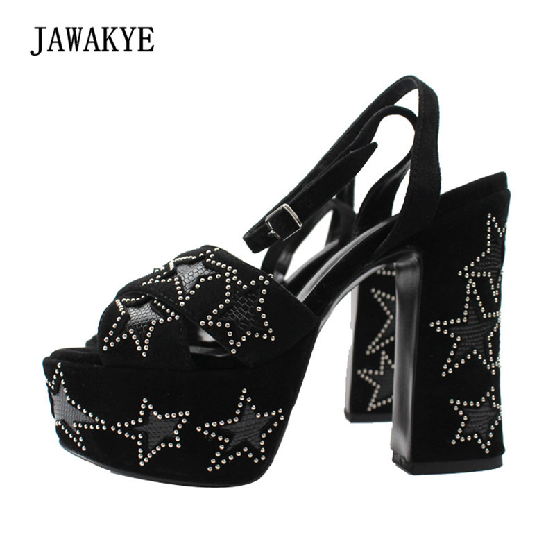 2018 Black Suede Platform Gladiator Sandals Woman Open Toe Ankle Strap Rivet Star Chunky High Heel Shoes Women цена