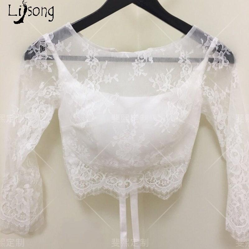 White Lace Wedding Jacket Lace Up Chic Bridal Top Blouse 3/4 Sleeves For Boho Wedding Bolero Custom Made Soft Lace Topper Shirt