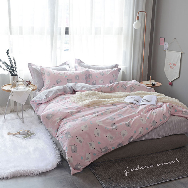 Chicken Print Queen Twin Size Pink Bedding Sets Soft Cotton Bedlinens Duvet  Cover Flat Sheet Pillow