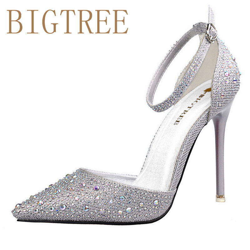 BIGTREE Spring Summer Shiny Rhinestones women pumps Shallow mouth Pointed Hollow Word with sandals 10.5CM Fine high heels shoes купить