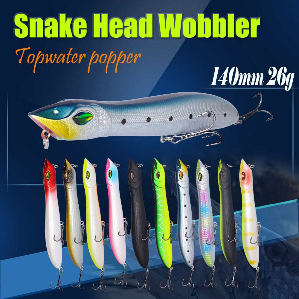 2pcs Snake Head Popper 140mm/26g Topwater Fishing Bait Plastic Lure Fishing Peche Iscas Artificial Para Pesca Lure Fishing good photos 26g 20