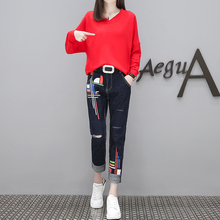 Women v neck batwing hoodies denim pants big yards clothing set autumn outfit suits new plus size loose two-piece clothes