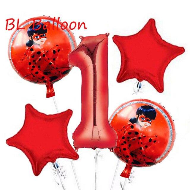 Wholesale 5pcs Lot Miraculous Ladybug Foil Balloons Birthday Party Decorations Number Helium Mylar Balloon