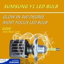 DLAND собственный Y1 360 градусов светящиеся наиболее фокусировки 6400LM двигателем авто светодиодный лампа с SAMSUNG чип, H1 H3 H7 H11 9005 9006 H4