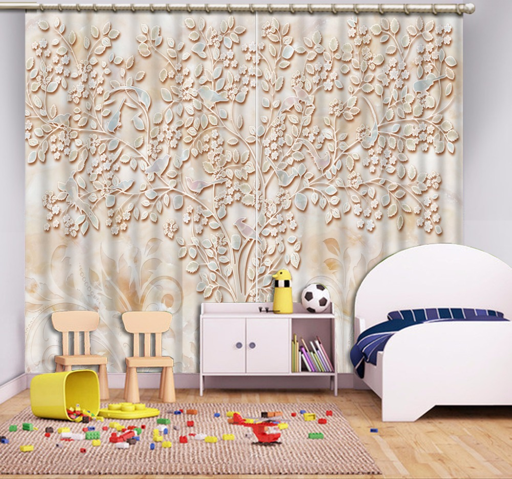 3D Curtain Fashion Customized Depicting Leaves Curtains For Bedroom New Custom 3D Beautiful Blackout Shade Window 3D Curtain