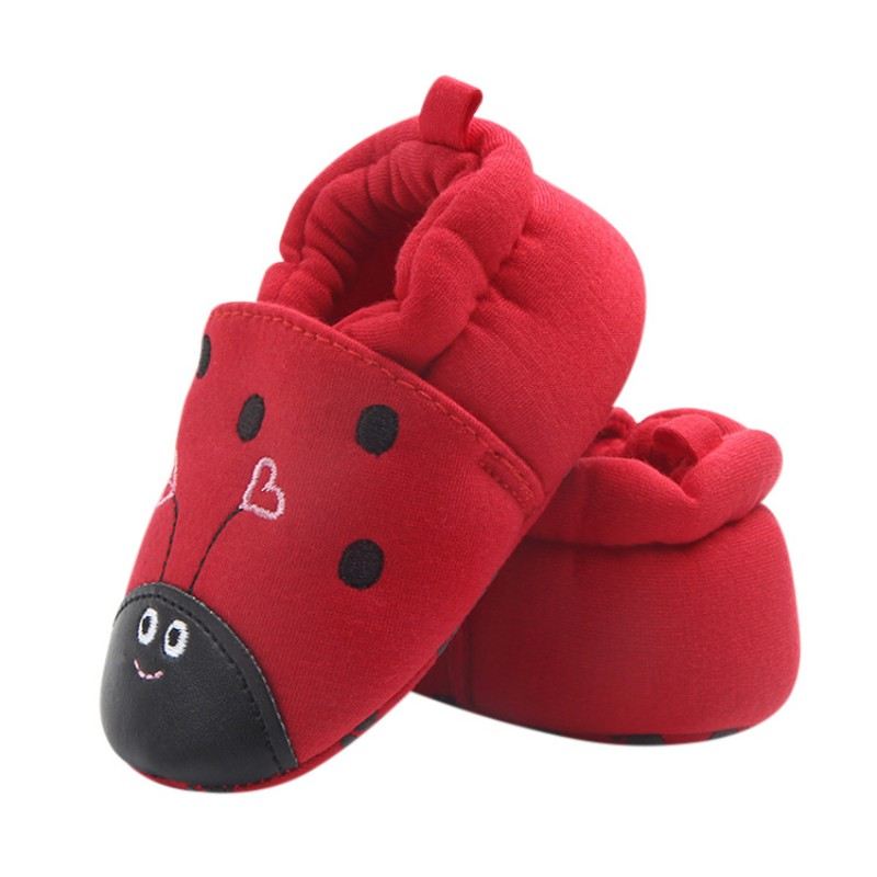2018 Autumn Winter Knitted Cotton Cloth Baby Lovely Shoes First Walkers Cute Baby Girls Boys Anti-drop Shoes Red New