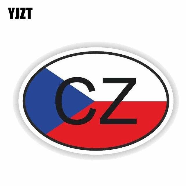 YJZT 13.5 CM * 9.1 CM créatif tchèque république CZ pays Code réfléchissant fenêtres voiture autocollant décalque 6-0203