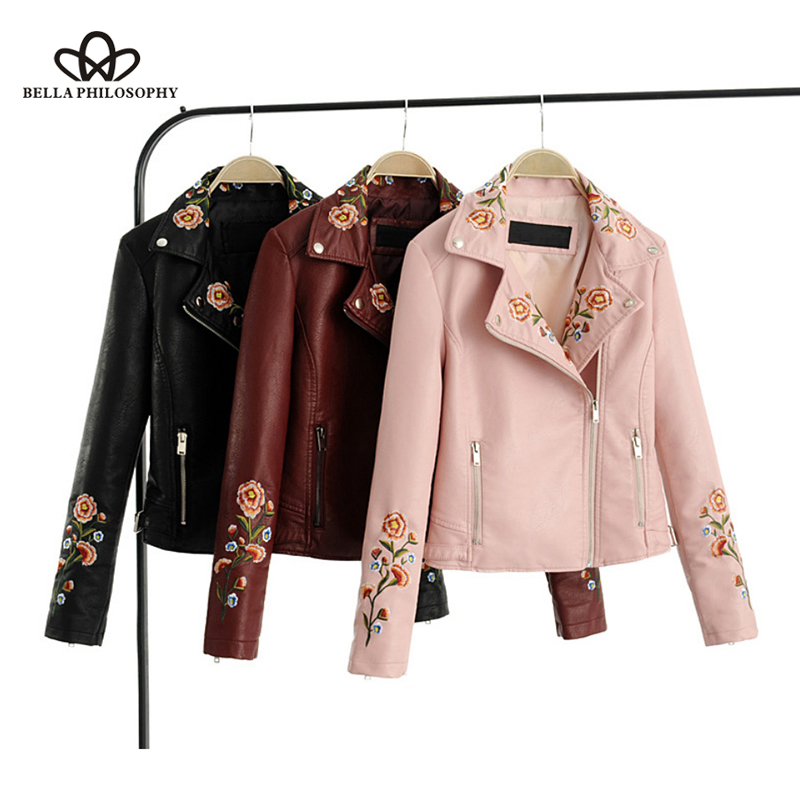 Bella Philosophy 2018 Autumn   Jacket   Coat Women Flower Embroidery Zipper PU   Basic     Jacket   Female Vintage Long Sleeve Outwears