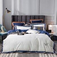 Blue/gray/white egyptian cotton Bedding set 4 pcs Queen King size hotel Bed set Quilt/Duvet cover Bedsheet set Pillowcase
