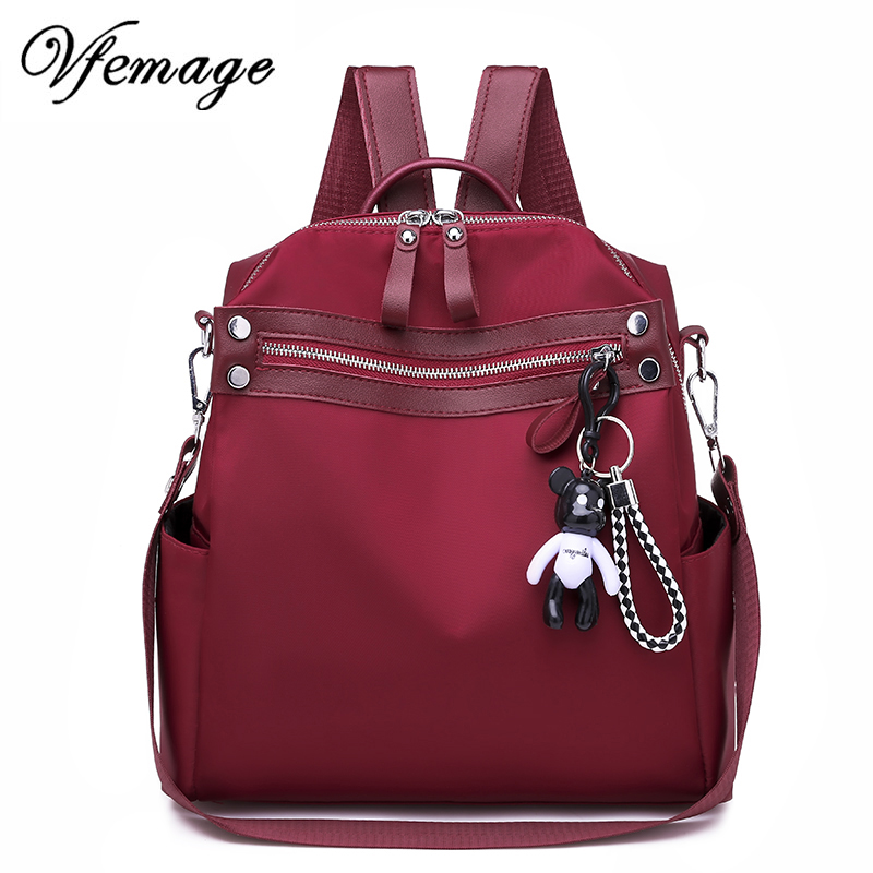 Vfemage Oxford Women Backpack Fashion Female Small Bagpack Schoolbag for Teenager Girls Multifunction Backpack 2019 Sac A Dos