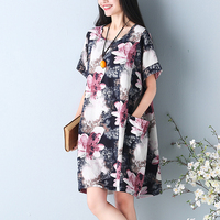 Women Summer Dress 2018 ZANZEA Retro Floral Print Short Sleeve Loose Casual Vestido Maxi Boho Robe