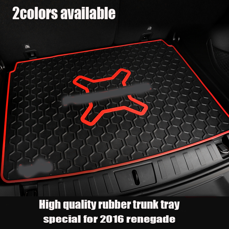 2 colors Rubber Trunk Organizer Tray Mat Slush Floor Mat Liner Mats Carpet Tray Cargo For 2015 2016 Jeep Renegade fit for ford mondeo focus explorer edge taurus kuga escort ecosport boot liner rear trunk cargo mat floor tray carpet