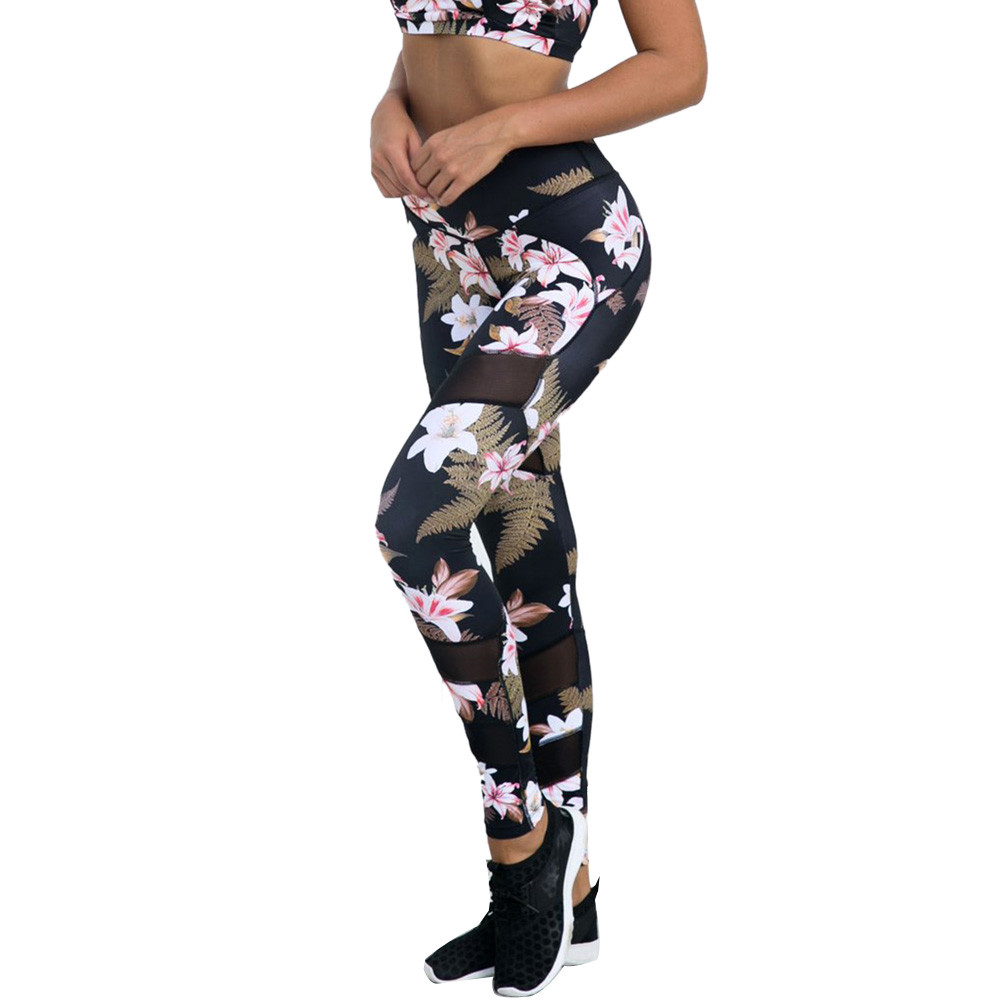 Hot Sale Floral Print Yoga Leggings Women Autumn Tight Sexy Breathable Fitness Workout Sports Wear For Women Gym Trousers #YL sexy sports bra and leggings