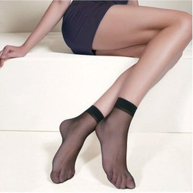 722c3cb6102 10pair Crystal Transparent Silk Socks Female Summer Sock Sexy Thin Elastic Womens  Socks Short Black Skin