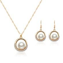 ORNAPEADIA Brand Wedding Jewelry set Glass Pearl Earring pendant luxury zircon Lady elegant necklace earrings set souvenir gift цена 2017