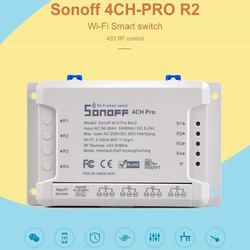 Sonoff 4CH Pro R2 Smart Wifi Switch 433MHz RF Wifi Light Switch 4 Gang 3 Working Modes Inching Interlock Smart Home With Alexa