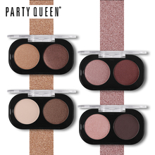 Party Queen Satin Matte 2 Colors Eyeshadow Palette Cosmetic Nude Pigment Makeup Shimmery Burgundy Earth Color Smokey Eye Shadow
