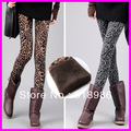 2016 Winter Fashion Women's Leopard Print Leggings Warm Fleece Thickening Skinny Leggings Pants