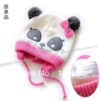 Ücretsiz kargo yeni 2014 sonbahar kış şapka çocuk aksesuarları bebek tığ cap kız panda şapka sevimli yenidoğan bebek Örgü şapka