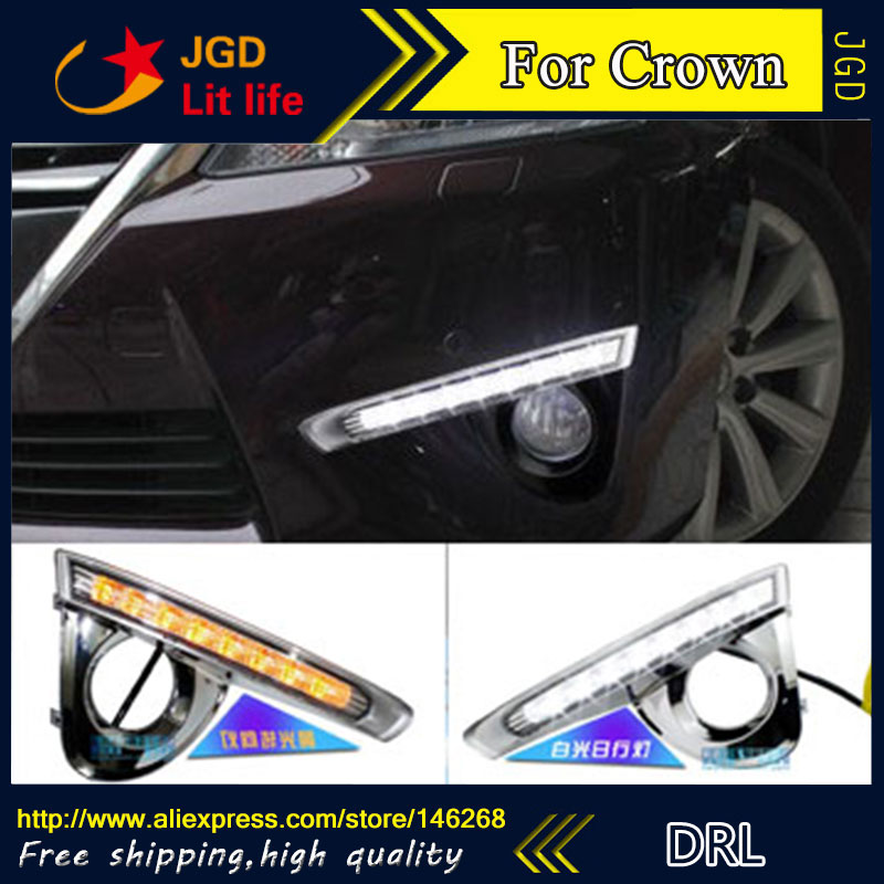 Free shipping ! 12V 6000k LED DRL Daytime running light for Toyota Crown 2013 2014 fog lamp frame Fog light Car styling