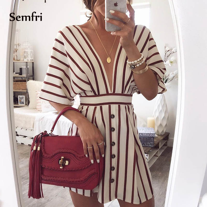 Semfri V-neck Striped Dress Summer Beach Loose Sexy White Dress with Open Back Short Sleeve Patty Mini Dress 2019 New Clothes