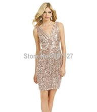 Cheap Hot Sale Sheath V Neck Short Bridesmaid Dress Sequins Party Dresses For Women Large Size MG155