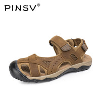 PINSV High Quality Mens Sandals Genuine Leather Outdoor Summer Sandals Men Sandalias Hombre Playa Casual Shoes