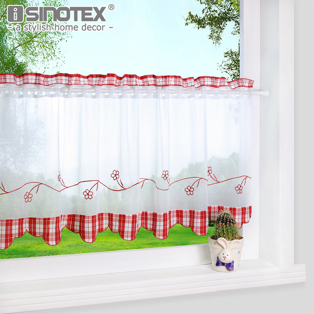 1pcs Half Curtain Floral Embroidery Window Curtain For Home Kitchen Cafe Panel Style Curtain Red Blue Plaid Modern Window Drapes Curtains For Window Curtainswindow Curtain Styles Aliexpress