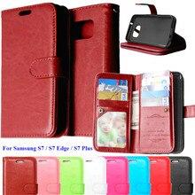 Для случая Samsung Galaxy S7 край флип чехол Роскошные Книга Стиль бумажник телефон сумка для Coque Samsung S7 край чехол с карт памяти