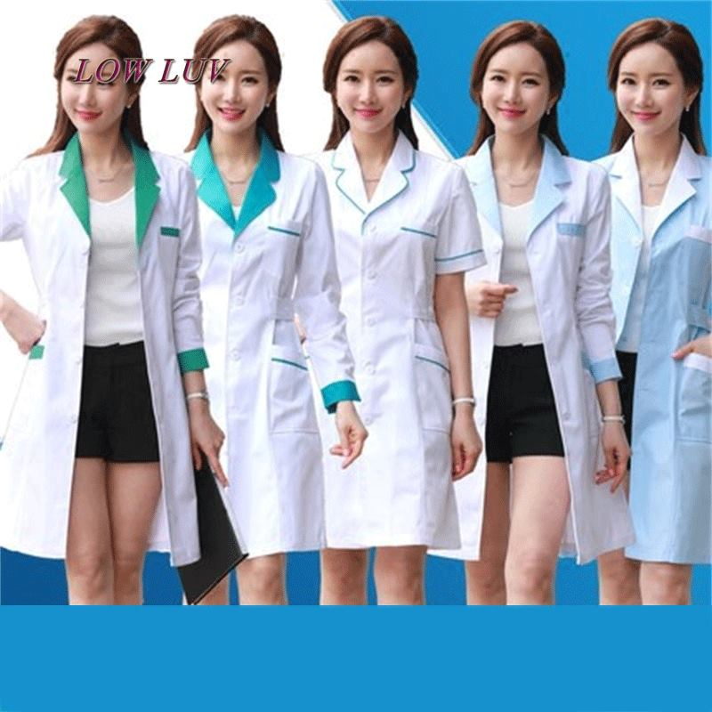 Long Sleeve Women/ White Medical Coat Nurse Services Uniform Medical Scrub Clothes White Lab Coat Hospital Doctor Clothes 2017