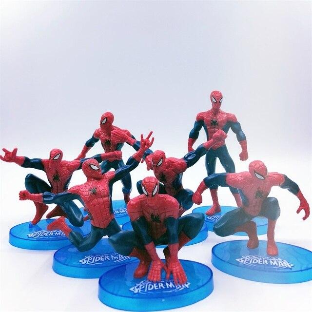7 pçs/set para Brinquedos Homem Aranha figura de ação Do Homem Aranha Coloca o modelo para o Homem-Aranha Boneca Car Home Interior decoração Estilo 7