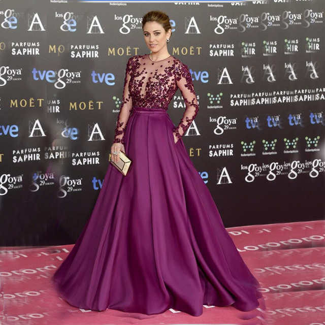 72e3ddbe353 Charming Beaded Embroidery illusion Purple Sheer Bodice Plus Size Prom  Dress Formal Long Sleeve Customized Celebrity Dresses