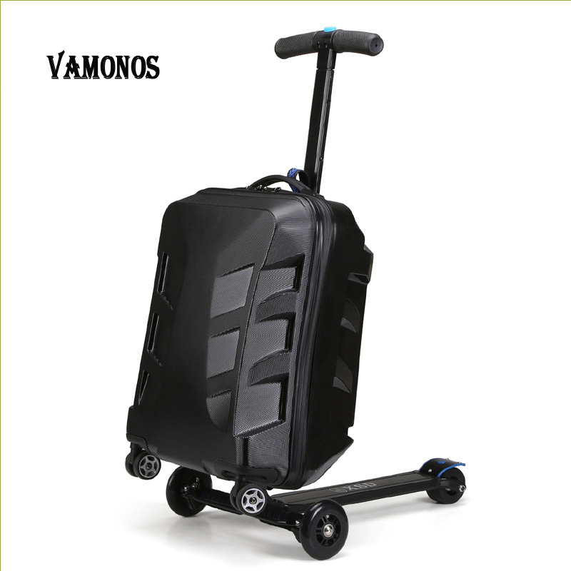 цены на 100% 20 inch piece Fashion students scooter trolley suitcase / boy cool 3D cover extrusion business travel suitcase luggage boar в интернет-магазинах