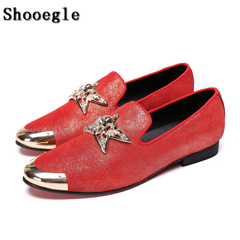 SHOOEGLE New Fashion Men Loafers Shoes Red Handmade Metal toe Slip on Casual Shoes Comfortable Breathable Wedding Shoes EU38-46 branded men s penny loafes casual men s full grain leather emboss crocodile boat shoes slip on breathable moccasin driving shoes