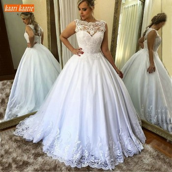 Gorgeous White Tulle Appliques Ball Gown Wedding Dress Long Customized Slim Fit Bridal Dresses Sleeveless Wedding Gowns On Sale Buy At The Price Of 98 77 In Aliexpress Com Imall Com