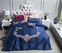 Luxury Blue 60S Cotton Western Style Embroidery Bedding Set Duvet Cover Bed Linen Bed sheet Pillowcase King Queen Size 4/5PCS