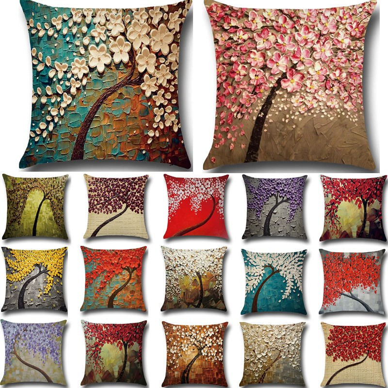 Renkli Pembe Ağaç Pamuk Keten Yastık Örtüsü Atmak Yastık Koltuk Araba Ev Kanepe Dekoratif Yastık Kılıfı funda cojin Pillowcover40211