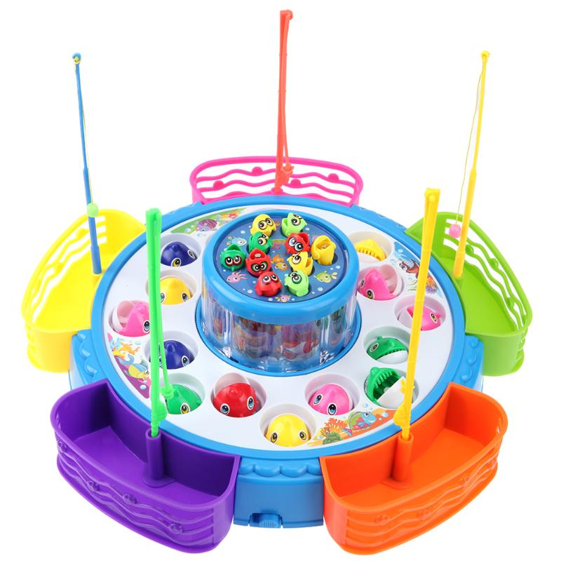 Two-Layers Fishing Turntable Rotating Toy Electric Music Lighting Kids Educational Interactive Game Toys Gifts