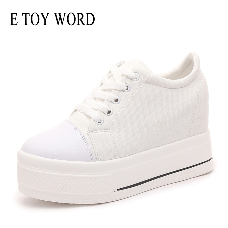 E TOY WORD Wedges Canvas Shoes Woman Platform Vulcanized
