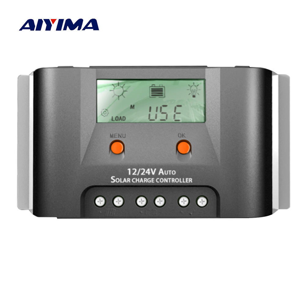 Aiyima PWM 12V 24V 30A Solar Charge Controller with Dual 5V USB Heat Sink LCD Solar Controller Real-time energy for Home Use 30a solar charge controller 12v 24v lcd regulator heat sink external temperature sensor real time energy statistics dual 5v usb