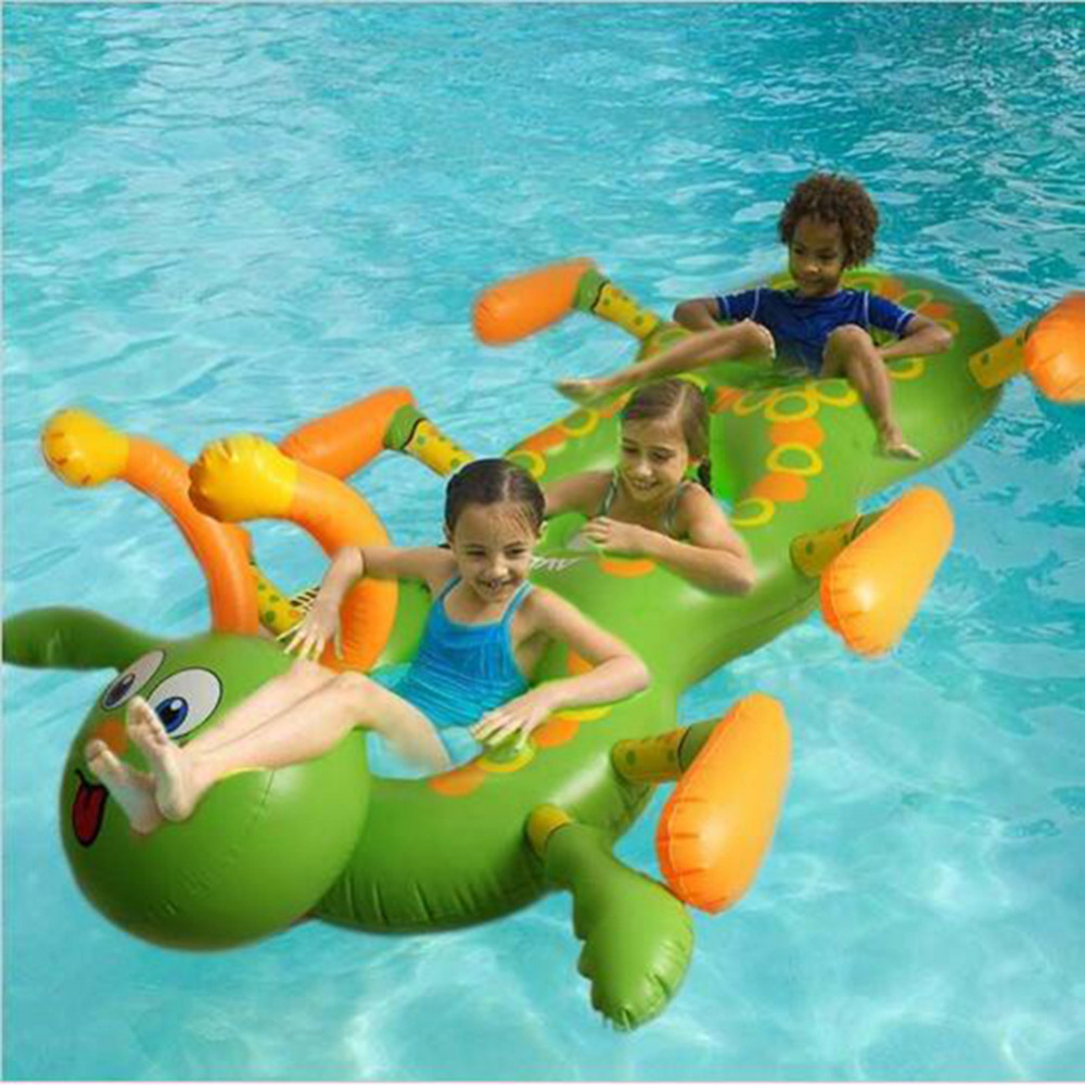 ФОТО 1.8M Inflatable Flamingo Ride-On Pool Toy caterpillar Float inflatable pool Swim Ring for children Holiday Water Fun Pool Toys