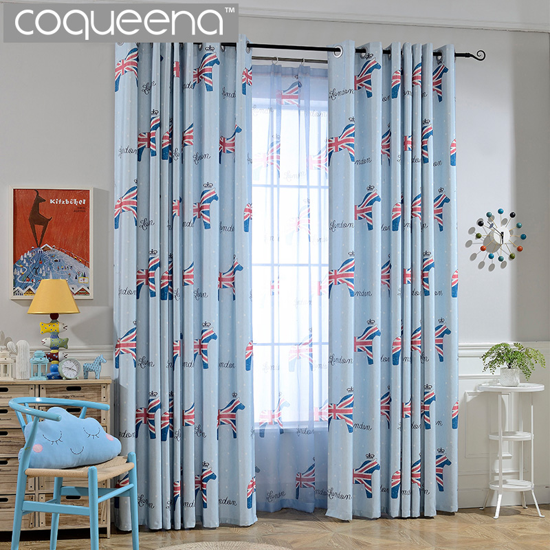 Cartoon Union Jack Horse Pattern Children Curtains for Kids Baby ...