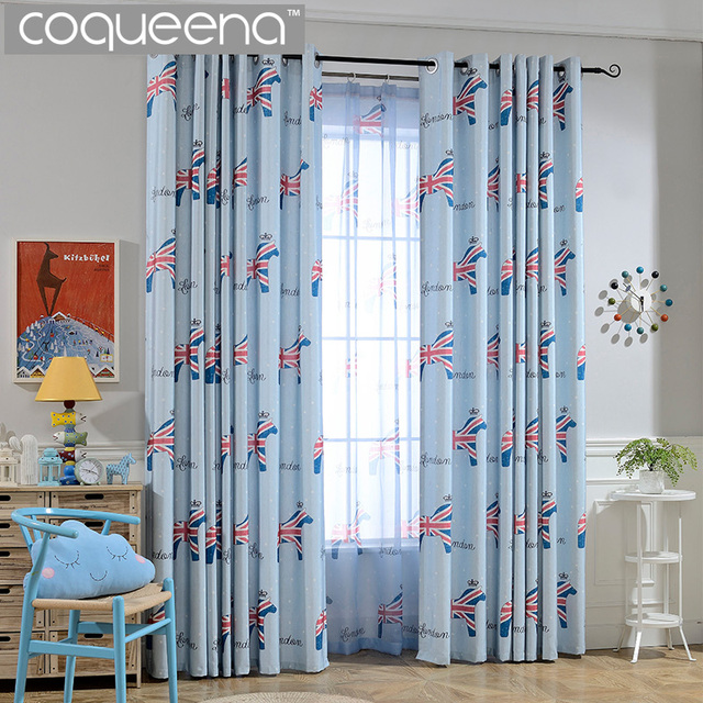 Cartoon Union Jack Horse Pattern Children Curtains For Kids Baby Boys  Bedroom Nursery Living Room Cotton