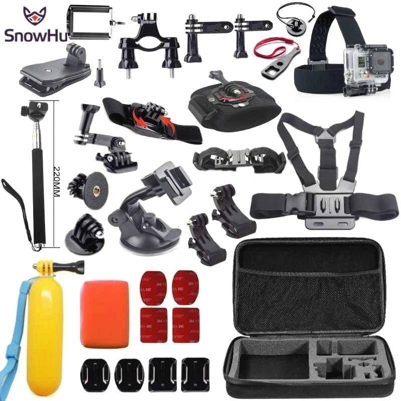 SnowHu Per GoPro accessori Set Borsa Antiurto J-Hook Mount tazza di aspirazione per Go pro Hero 7 6 5 5 s 4 3 + Per xiaomi yi macchina fotografica GS48