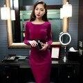 Бесплатная Доставка Дамы элегантное Платье Женщины тонкие бедра утолщение бархат цельный Платье
