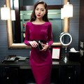 Free Shipping Ladies elegant Dress Women slim hip thickening velvet Dress one-piece Dress