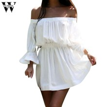14acc09b3e Womail vestido regular vestidos hermosos vestidos baratos mujeres Flare  manga de hombro Holiday Ladies verano Dec28