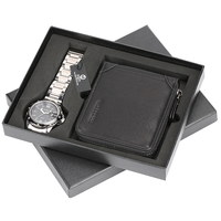 Unique Aviator Watch Stainless Steel Quartz Wrist Watch for Boy Boyfriend Malfunction Hasp Wallet for Dad Husband Christmas Gift