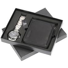Unique Aviator Watch Stainless Steel Quartz Wrist Watch for Boy Boyfriend Malfunction Hasp Wallet for Dad Husband Christmas Gift цена и фото